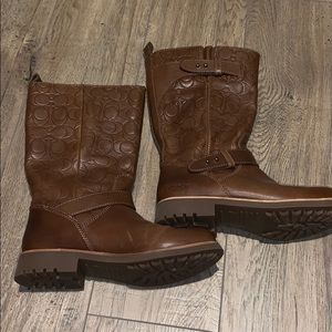 Mid Calf Coach Leather Boots
